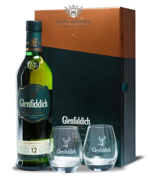 Glenfiddich 12 letni + 2 szklanki / 40% / 0,7l