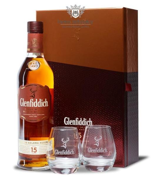 Glenfiddich 15-letni Solera Reserve + 2 szklanki / 40% / 0,7l